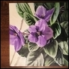 "AFRICAN VIOLET -- Artist: Sara Unrein Size: 5"" x 5"" Medium: Oil Price: $35.00"