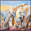 "SOCIAL LIFE OF ORPHANS -- Artist: Marcia Willman Size: 15"" x 11"" Medium: Watercolor Price: $395.00"