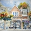 "BREEZY CORNER IN BROOKSIDE -- Artist: Marcia Willman Size: 15"" x 20"" Medium: Watercolor Price: $825.00"