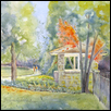 "COUNTRY CLUB STATION -- Artist: Marcia Willman Size: 8.5"" x 10.5"" Medium: Watercolor Price: $325.00"