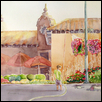 "PLAZA'S LITTLE SECRET -- Artist: Marcia Willman Size: 18"" x 14"" Medium: Watercolor Price: $725.00"