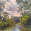 "REFLECTIONS OF  SPRING -- Artist: Cathie Thompson Size: 12"" x 12"" Medium: Oil Price: $250.00 ***SOLD***"