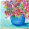 "TECHNICOLOR FLORAL -- Artist: Nancy Basinski Size: 10"" x 8"" Medium: Acrylic Price: $65.00"