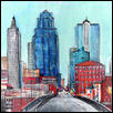 "DOWNTOWN KANSAS CITY -- Artist: Todd Williams Size: 11"" x 14"" Medium: Mixed Media Price: $175.00"