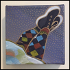 "HARLEQUIN LEGGINGS -- Artist: Jennifer Weigel Size: 4"" x 4"" Medium: Mixed Media Price: $40.00"