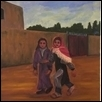 "TWO GIRLS IN CASBAH IN FEZ, MOROCCO -- Artist: Elisabeth Sauer Size: 16"" x 20"" Price: $600.00"