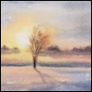 "EVENING LIGHT ACROSS FIRST SNOW -- Artist: Darla Zook Size: 5"" x 7"" Medium: Watercolor Price: $195.00"