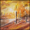 "LIGHT ILLUMINATES A FALL CREEK -- Artist: Darla Zook Size: 5"" x 7"" Medium: Watercolor Price: $195.00"