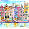 "SMALL HOUSES OVER THE CANAL - AMSTERDAM -- Artist: Liz Vargas Size: 8"" x 10"" Price: $255.00"