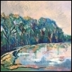 "PARISIAN POND -- Artist: Gloria Gale Size: 20"" x 18"" Medium: Acrylic Price: $325.00"