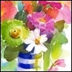 "MIXED BOUQUET IN BLUE & WHITE STRIPE VASE -- Artist: John Keeling Size: 8"" x 10"" Medium: Watercolor Price: $300.00"