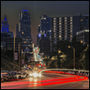 "LIGHT TRAILS IN DOWNTOWN KC -- Artist: Marianne Hamer Size: 28"" x 24"" Medium: Photography Price: $300.00 ***SOLD***"