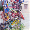 "BICYCLE PARTS -- Artist: Patricia Jessee Size: 18"" x 25"" Medium: Pastel Price: $500.00"