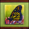 "MONARCH BUTTERFLY -- Artist: Barb Byrne Size: 6"" x 6"" Medium: Glass Price: $250.00"