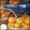 "PUMPKINS IN THE BARN -- Artist: Dawn Thomas Size: 24"" x 21"" Medium: Watercolor Price: $850.00"