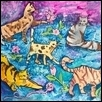 "CATS! AND MORE CATS! -- Artist: Sandra Vukas Size: 20"" x 16"" Medium: Acrylic Price: $300.00"