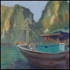 "FISHING BOAT FAMILY IN HA LONG BAY -- Artist: Sheila Jewell Size: 12"" x 16"" Price: $500.00"
